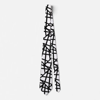 Black and White Abstract Geometric Tie