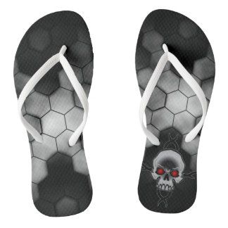 Black and White Abstract Honeycomb Skulls Flip Flops