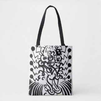 black and white abstract image, stylish tote bag