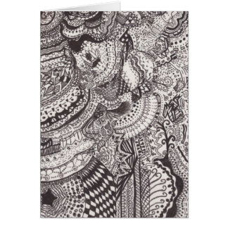 Black and White Abstract Line Art Greeting Card