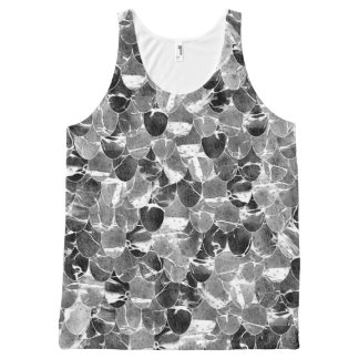 Black and White Abstract Mermaid Scales Pattern All-Over-Print Tank Top
