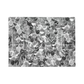 Black and White Abstract Mermaid Scales Pattern Doormat