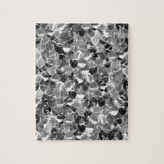 Black and White Abstract Mermaid Scales Pattern Jigsaw Puzzle