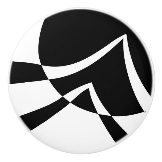 Black and White Abstract Modern Art Ceramic Knob