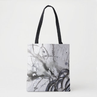 Black and White Abstract Original Gray Painting Tote Bag