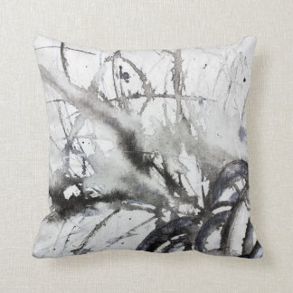 Black and White Abstract Original Grey Painting Throw Pillow