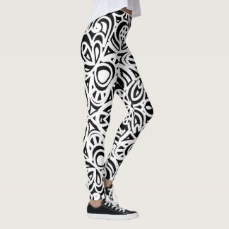 Black and White Abstract Pattern Leggings