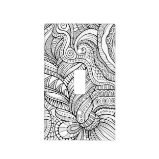 Black and white abstract pattern light switch cover
