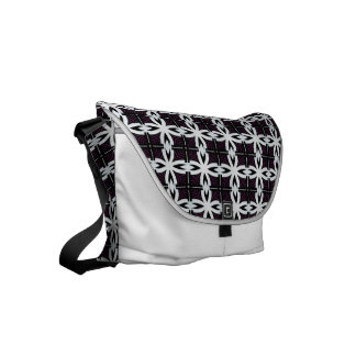 Black and white abstract pattern messenger bags
