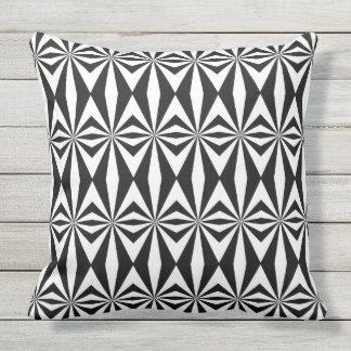 Black and white abstract pattern outdoor pillow