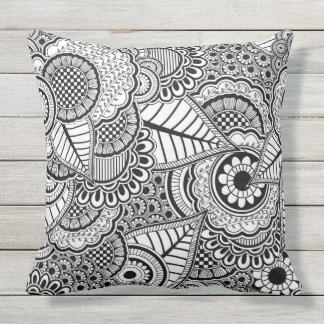 Black and white abstract pattern throw pillow