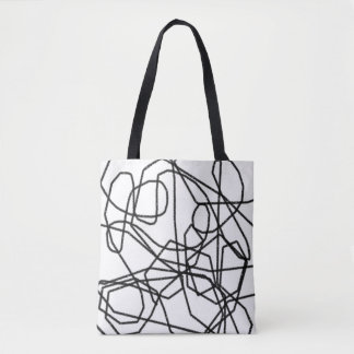 Black and White Abstract Scribblings Tote Bag
