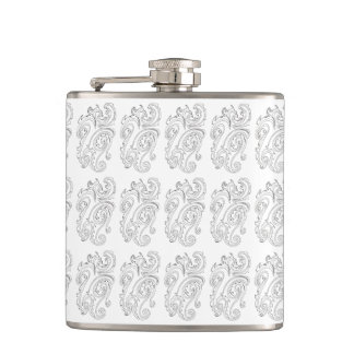 Black And White Abstract Sea Creature-Ink Doodle Hip Flask