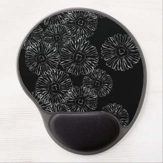 Black and white abstract spring flowers gel mouse pads