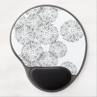 Black and white abstract spring flowers gel mouse mat