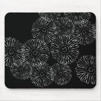 Black and white abstract spring flowers mouse pads