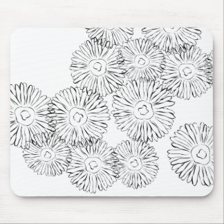Black and white abstract spring flowers mousepads