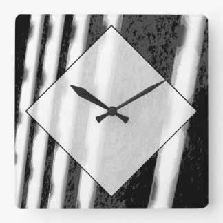 Black and White Abstract Stripes. Square Wall Clock