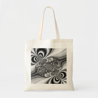 Black and White Abstract With Circles Budget Tote Bag