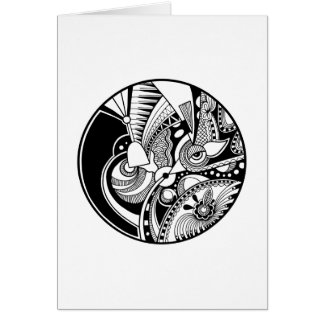 Black And White Abstract Zendala On Circle Card