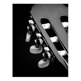Black and White Acoustic Guitar Head Postcard