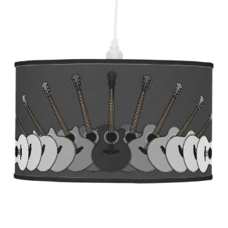 Black and White Acoustic Guitars Pendant Lamp
