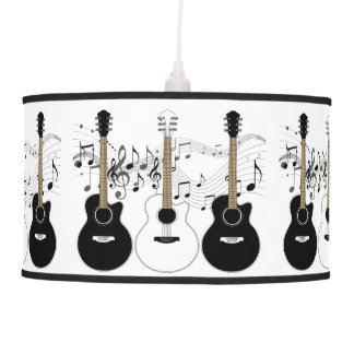 Black and White Acoustic Guitars Pop Art Vector Pendant Lamp