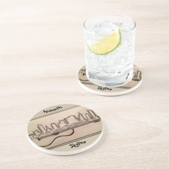 """Black and White """"Acoustic Skyline"""" Coasters"""