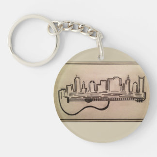 "Black and White ""Acoustic Skyline"" Keychain"