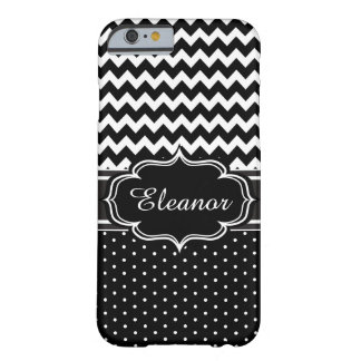 Black and White Add Your Name Chevron Polka Dot Barely There iPhone 6 Case
