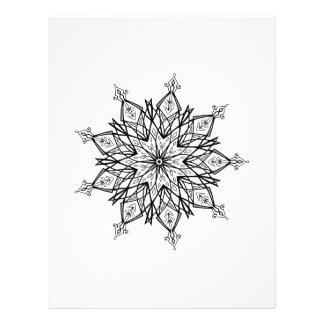 Black and White Adult Coloring Mandala Snowflake Flyer
