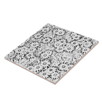 Black and White African Daisies Tile