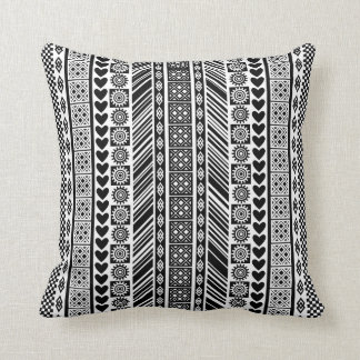 Black and White African Print Adinkra Pattern Throw Pillow