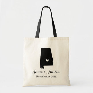 Black and White Alabama Wedding Welcome Tote Bag