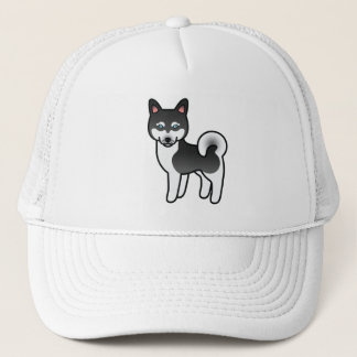 Black And White Alaskan Klee Kai Cartoon Dog Trucker Hat