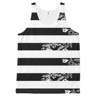 Black and White All Over Printed Tank