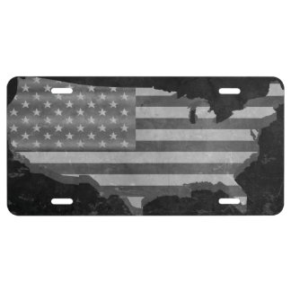 Black and White American Flag License Plate