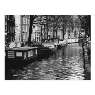 Black and White Amsterdam Canal Photograph Postcard