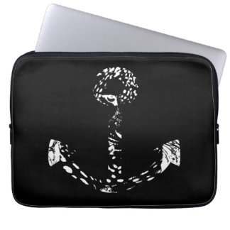 Black and white Anchor Fine Art Laptop Sleeve