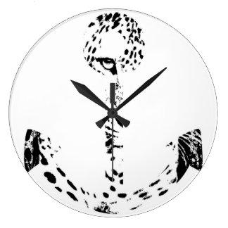 Black and White Anchor Leopard Eye Overlay 2 Round Clocks