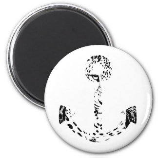 Black and White Anchor Leopard Eye Overlay 2 Inch Round Magnet