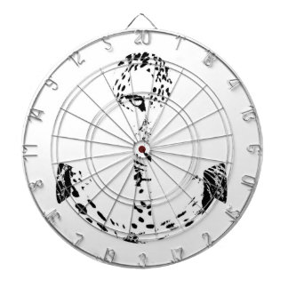 Black and White Anchor Leopard Eye Overlay 3 Dartboard With Darts