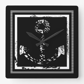 Black and White Anchor Leopard Eye Overlay Clock