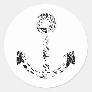 Black and White Anchor Leopard Eye Overlay Round Sticker