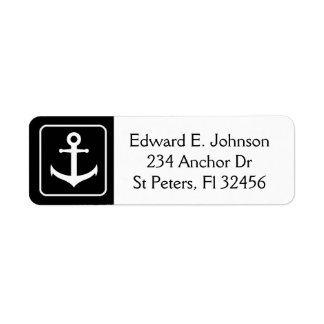 Black and White Anchor Return Mailing Address Labe Return Address Label