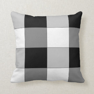 Black and White and Gray Checkered Pillow