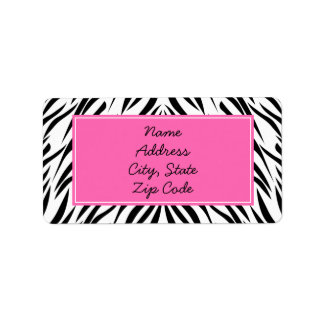 Black and White and Hot Pink Zebra Print Label