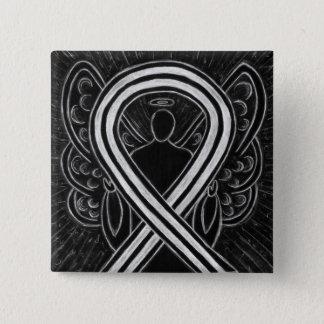 Black and White Angel Awareness Ribbon Custom Pin