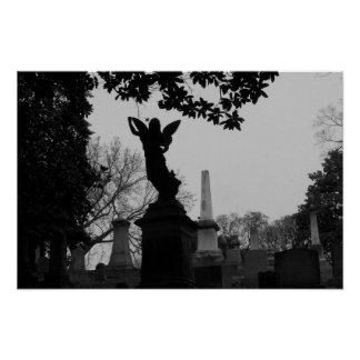 Black and White Angel Statue Poster