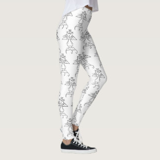 Black and White Angel Stick Figure Pattern Cute Leggings
